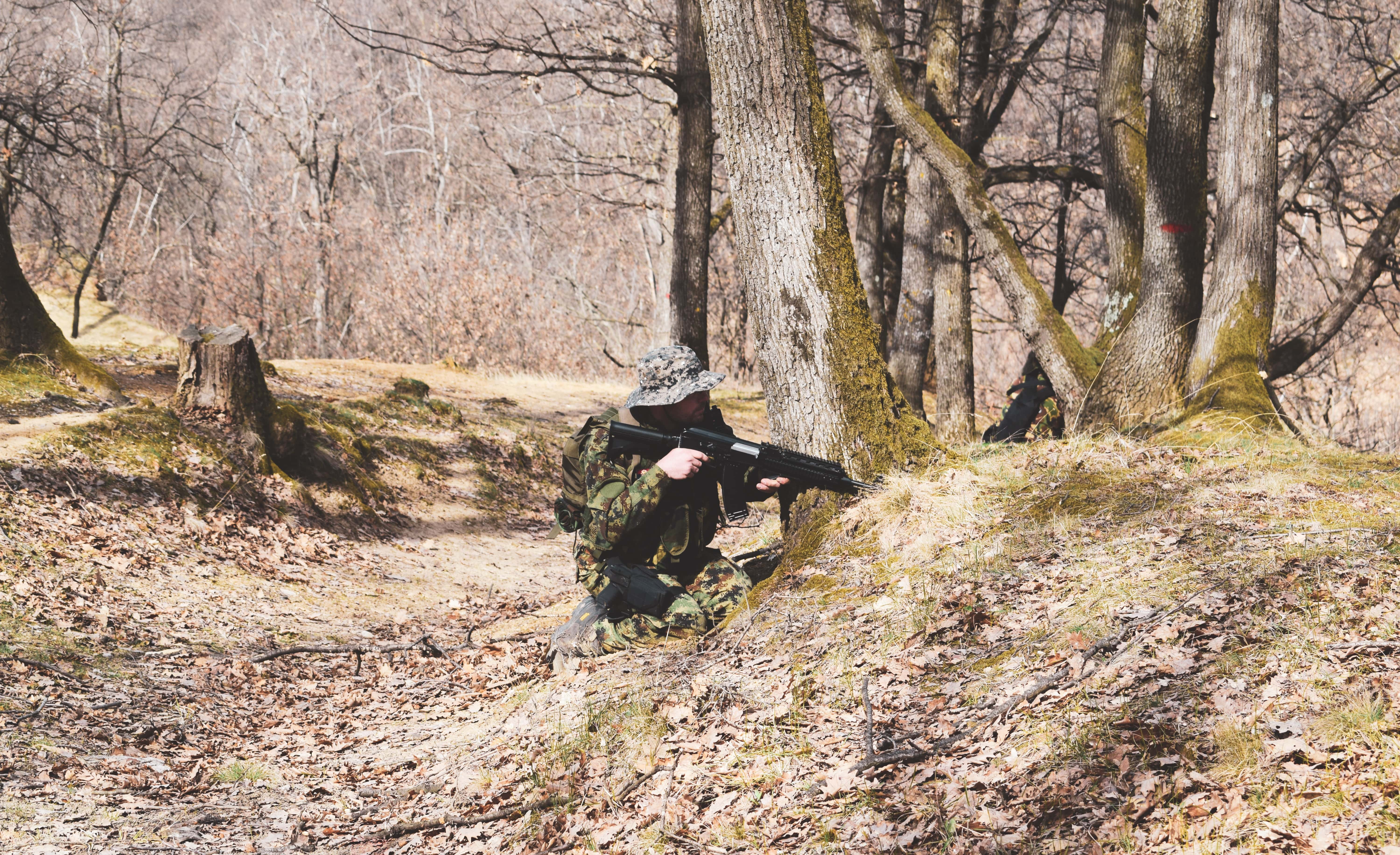 Airsoft player in the Woods